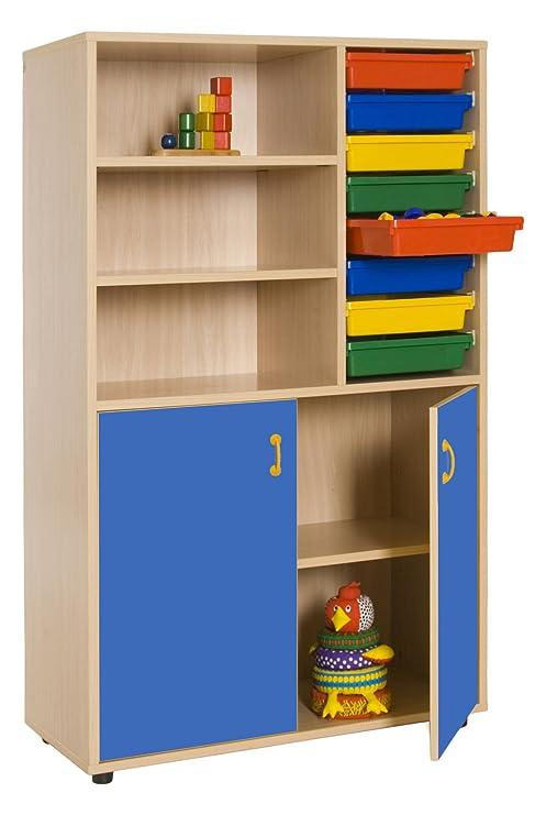 Mobeduc Armadio con libreria e vassoi, Legno, Blu Scuro, 90 x 147 x ...