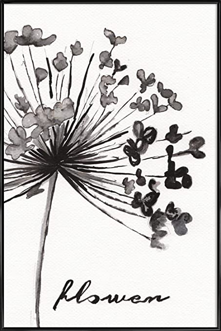 e83a3fad7 JUNIQE® Pictures with frames 60x90cm Black & White Flowers - Design
