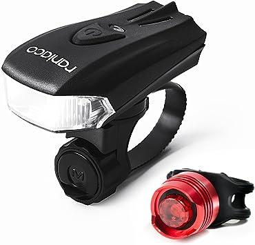 Luces para Bicicleta, 3000 Lúmenes LED de Bicicleta Luz Delantera, Raniaco USB Batería Seguridad Luces para al Aire Libre, Ciclismo Faro Delantero y Luz Trasera Ambos Incluidos (Negro): Amazon.es: Deportes y aire