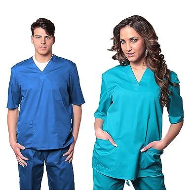 AIESI Divisa Ospedaliera unisex uomo donna in cotone 100% sanforizzato  pantaloni + casacca scollo a V - Sanitaria Medicale per Medico Infermiere  Oss ... 3fc8c835273c