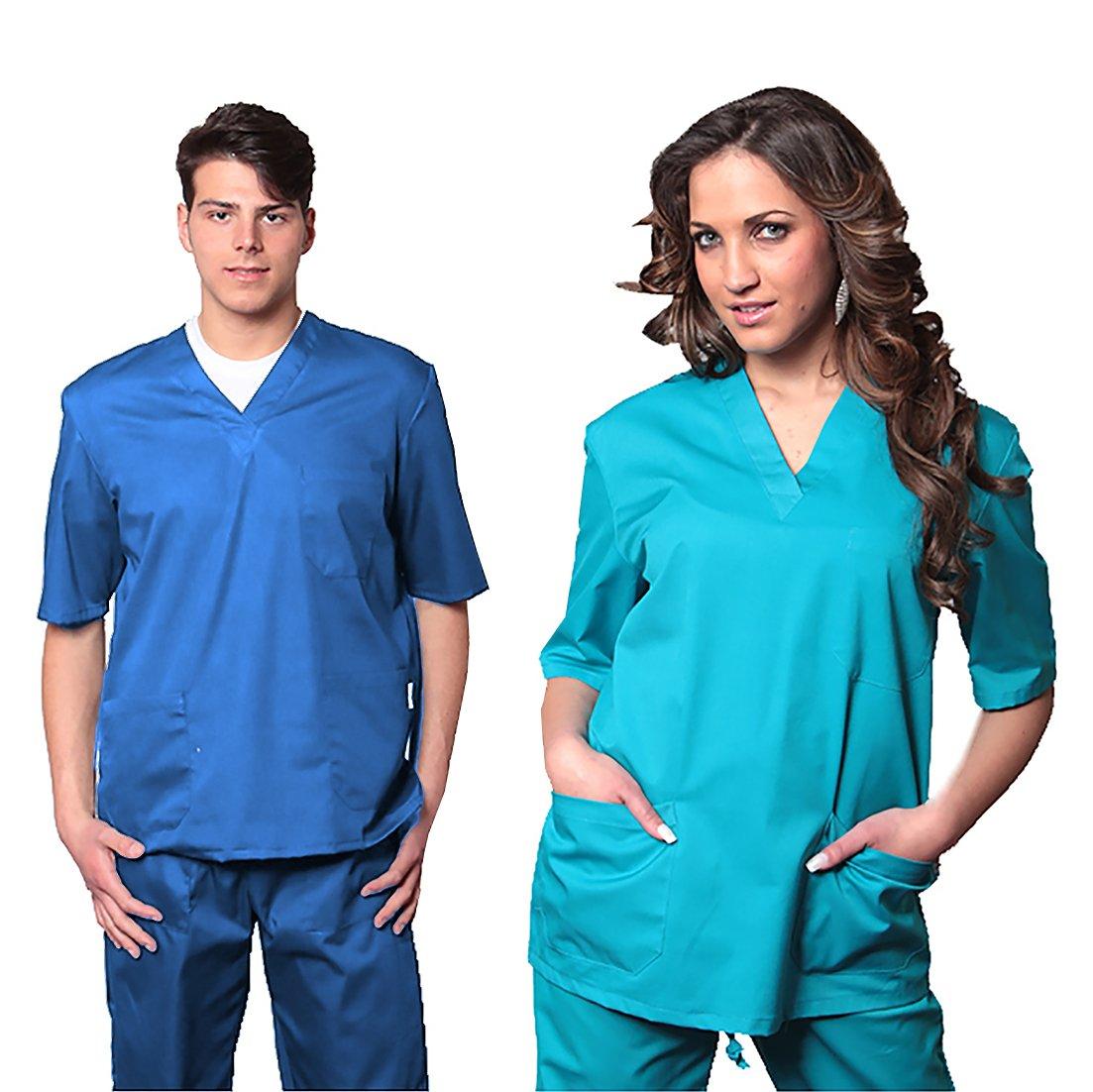 AIESI Divisa Ospedaliera unisex uomo donna in cotone 100% sanforizzato  pantaloni + casacca scollo a 40391e2e5b5