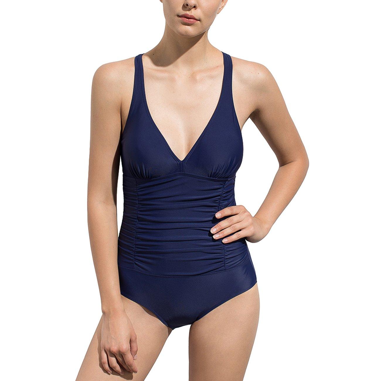 HAIVIDO Women's V Neck Shirred Tummy Control Wide Shoulder Straps One Piece Swimsuit HAISU185OP10CA