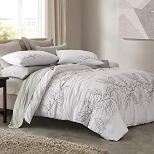 SHALALA NEW YORK Embroidery Cotton Duvet Cover Set with 2 Pillow Shams - Ultra Soft Cotton Slub Yarn Comforter Cover - All Season Comfortable - Machine Washable (White, King)