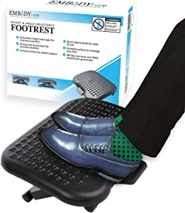 Under Desk Foot Rest & Adjustable Footrest - Ergonomic Footrest for Desk Soothes Your Tired & Achy Feet - Office Foot Rest Under Desk with Foot Massager (Charcoal Grey) - Best Footrests by Embody Care