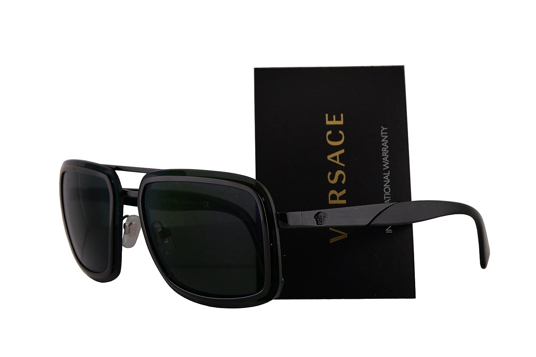 d105cc6cd8a Versace VE2183 Sunglasses Black w Dark Grey Mirror Green 63mm Lens 1009C0 VE  2183  Amazon.co.uk  Clothing
