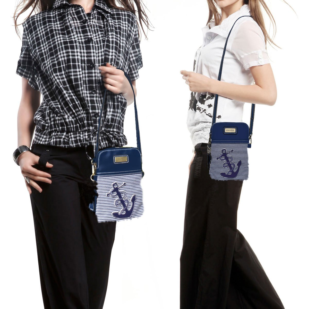 Anchor Crossbody Bag Nautical iPhone Cell Phone Purse Bag PU Leather Canvas Handbag for Smartphone Credit Card Passport Keys by inOne (Image #6)