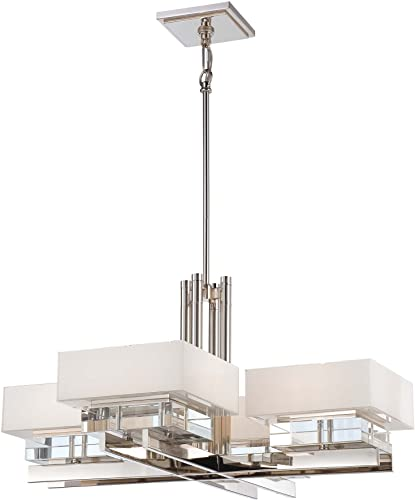 Minka Metropolitan N6268-613 Eden Roe – 34 Inch Eight Light Chandelier, Polished Nickel Finish with Mitered White Glass with Eidolon Crystal