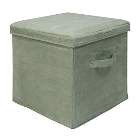 Casual Home Seat Pad Folding Storage Ottoman. Micro Suede Cover, Laurel Green