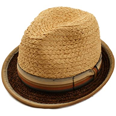 Retro 1940s 50s Mens Straw Trilby Style Summer Sun Hat with Striped Outer  Band cf1c6fb1bae