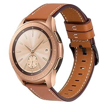iiBazal Correas 20mm Cuero Piel Pulseras Bandas Compatible con Samsung Galaxy Watch 42mm/Active 40mm/Huawei Watch 2/Gear S2 Classic/Sport/Ticwatch ...