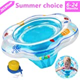 ADDCOOL Baby Float Swimming Ring with Safety Seat, Baby Double Airbags Floating PVC Inflatable Pool Bathtub Training Floats (Blue)