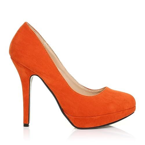 9d878b2106f EVE Orange Faux Suede Stiletto High Heel Platform Court Shoes Size UK 8 EU  41