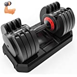IPOW Adjustable Dumbbell 5-25/6.6-44 LB Single Black Dumbbell Set with Tray for Men Women|Anti-Slip Silicone Covered Metal Ha