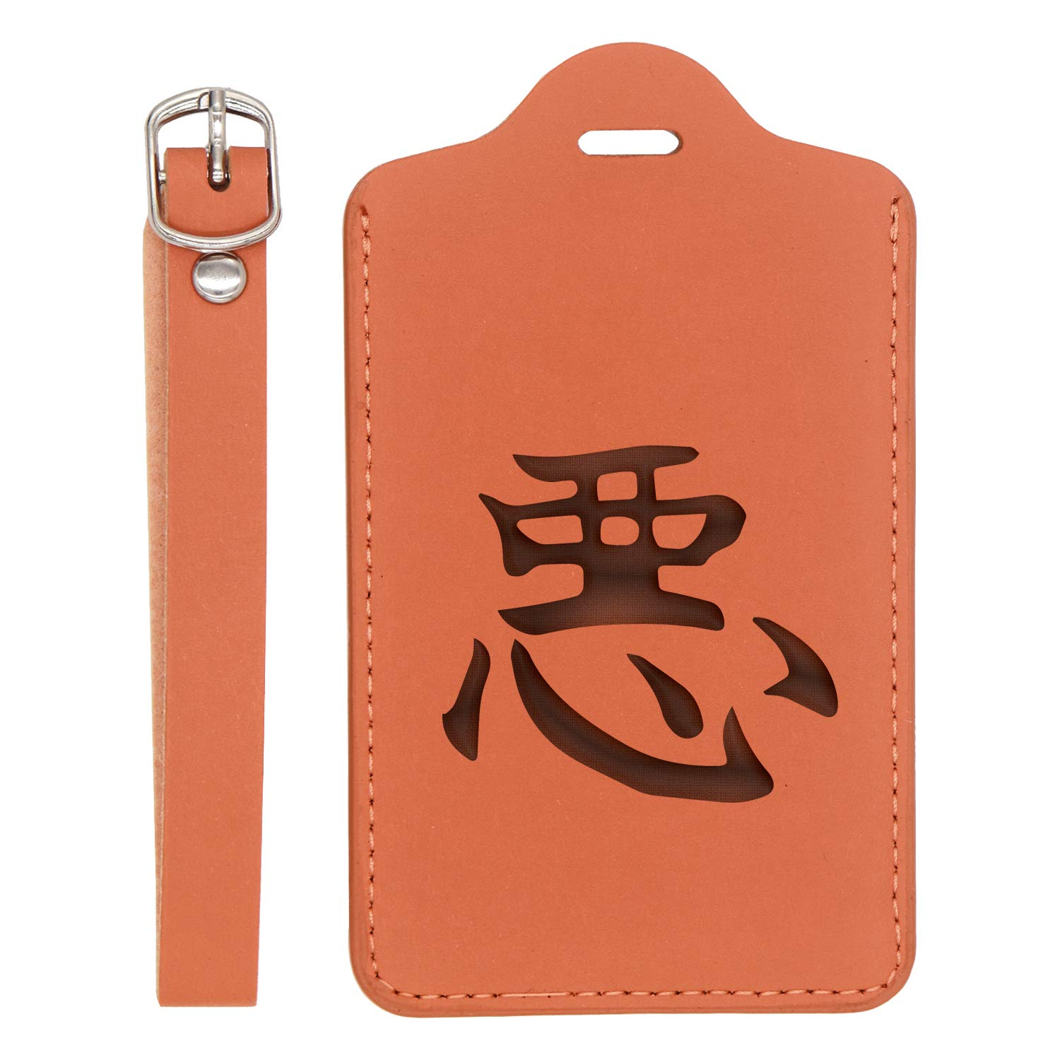 - United States Standard For Any Type Of Luggage Bad Chinese Symbol Engraved Synthetic Pu Leather Luggage Tag London Tan - Set Of 2 Handcrafted By Mastercraftsmen