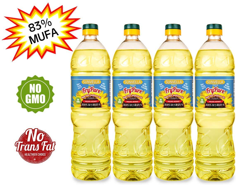 SUNVELLA FryPure Non-GMO High Oleic Sunflower Oil, Pressed-Refined 33.8 FL OZ (1.0 L) (Pack of 4) by SUNVELLA