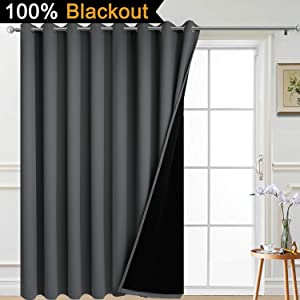 Yakamok Total Shade Patio Door Curtain, Heavy-Duty Full Light Shading Sliding Door Drape Room Divider Curtain Screen Partitions, Vertical Blind for Villa(1 Panel, 100W x 84L,Dark Grey)