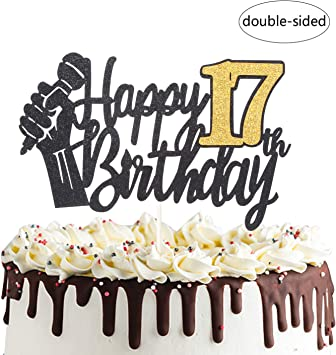 Pleasant Happy 17Th Birthday Cake Topper With Microphone Cheers To 17 Years Personalised Birthday Cards Veneteletsinfo