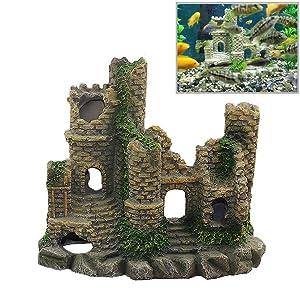 Sunyiny Ancient Castle Cave Resin Roman Column Aquarium Decorations Fish Tank Rock Ruins Plants Decor Aquarium Decoration Ornaments