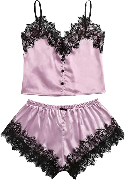 WDIRARA Womens 4 Pieces Satin Floral Lace Cami Top Lingerie Pajama Set with Robe