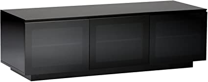 BDI Mirage 8227 2 Triple Wide Entertainment Cabinet, Satin Black With Black  Glass Top