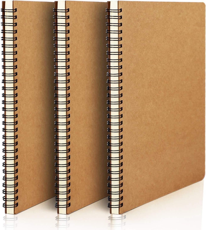 Spiral Kraft Notebook, Eusoar B5 3 Pack 7.3