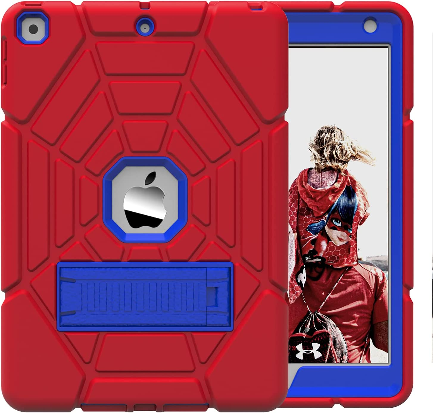 Grifobes iPad Case 6th 5th Generation for Kids, iPad 6th/5th Gen Case, Heavy Duty Protective Shockproof Rugged Kids Friendly Case with Kickstand for Apple iPad 9.7 inch 2018/2017 -Red+Blue