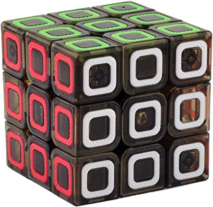 IndiaBuy 3x3x3 QIYI Black Background Rubiks Magic Smooth Speed Cube 3D-Puzzle Cube Recommended for 3-99 yrs (QIYI Transparent STICKERLESS)