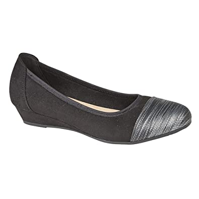 41e6a8ecd514 Boulevard Womens Ladies Wide Fit Imitation Suede Reptile Print Toe Ballerina  Casual Shoes (4 UK) (Black)  Amazon.co.uk  Shoes   Bags