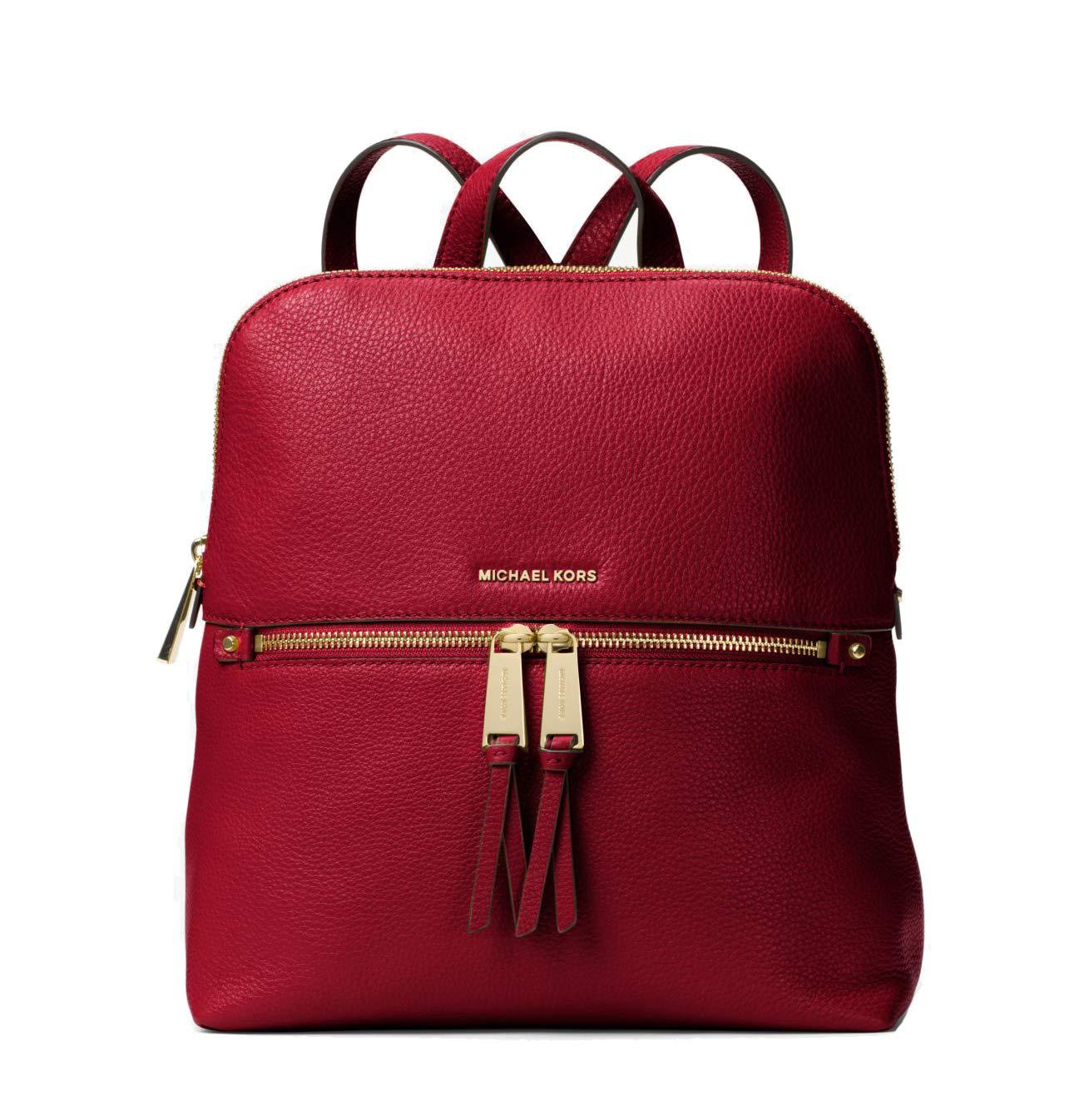 bbd9afd81b96 Galleon - Michael Kors Rhea Medium Slim Leather Backpack MAROON