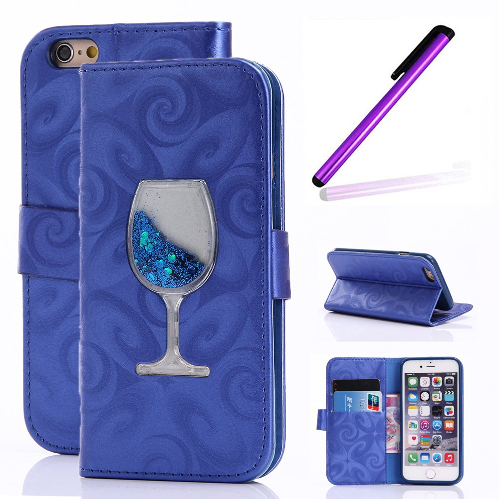 Magnetic Closure Wallet Case with Glitter Wine Glass for iPhone 6/6S Plus Blue