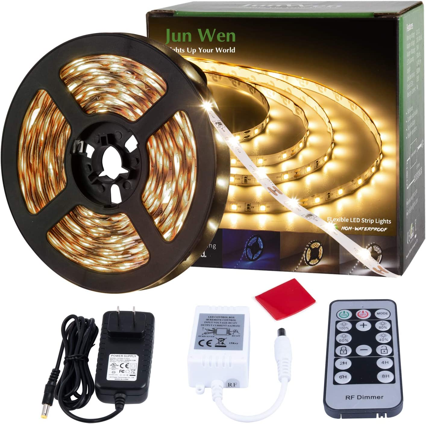 JUNWEN Warm White LED Strip Lights Dimmable Rope Lights RF Remote Under Cabinet Tape Lighting 300LEDs 16.4FT 12V FlexibleBacklight with 2A UL Power Supply for Bedroom, Kitchen