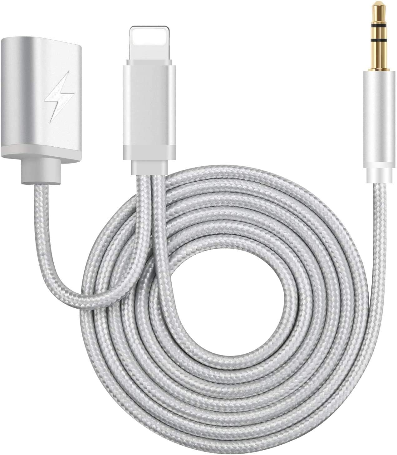 Aux and Charger Cable 2 in 1 Nylon Braided 3.5mm Headphone Jack Adapter and Extend Female Charger Cord Compatible with iPhone 11/11 Pro/X/XS/XR/XS MAX/8/8P/7/7P/iPad/iPod for Car/Home stereos(Silver)