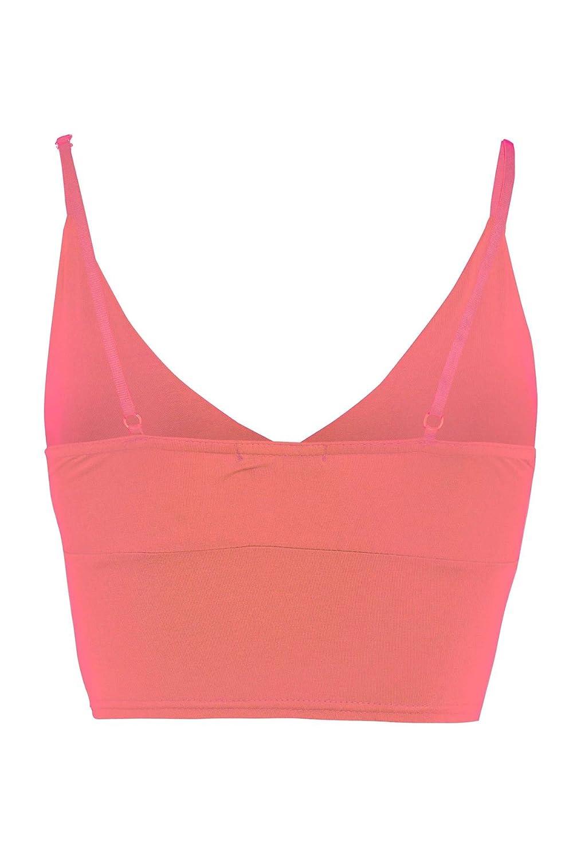 Coral, S New Womens Bra Strap Crop Top Wrap Bralet Tops