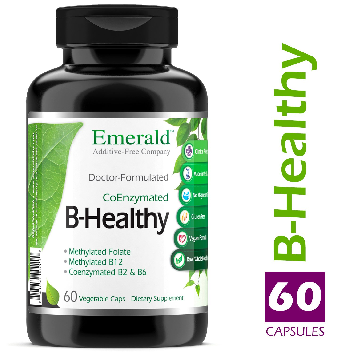 B Healthy – with L-5 Methyltetrahydrofolate 5-MTHF Coenzymated Folic Acid – Helps Improve Energy, Lower Stress, Fatigue, Healthy Immune System – Emerald Laboratories – 60 Vegetable Capsules