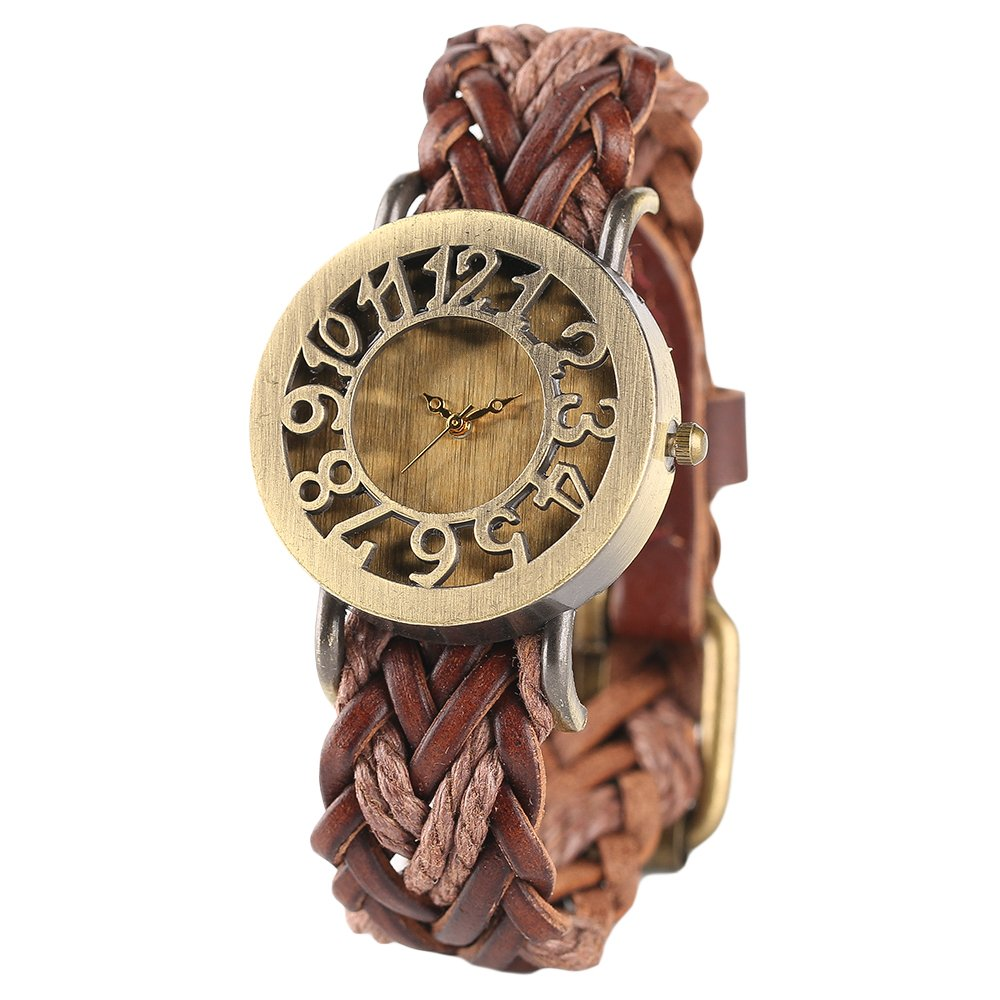 Women Vintage Watch, Soft Braided Leather Band, Retro Hollow Style Women Wristwatch by mygardens