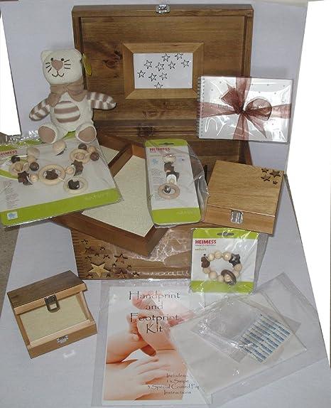 Set de regalo para bebé unisex de lujo, personalizable, 2 cajas de recuerdo pequeñas y 1