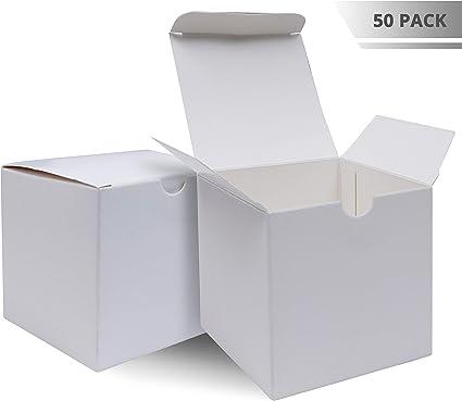- Scatoline Kraft Vintage- Scatoline Portaconfetti Cupcake 7,6x7,6x7,6cm - Scatoline Carta Kraft Bianca Caramelle e Gioielli per Feste e Matrimonio 50pz Biscotti Kraft Scatole Regalo