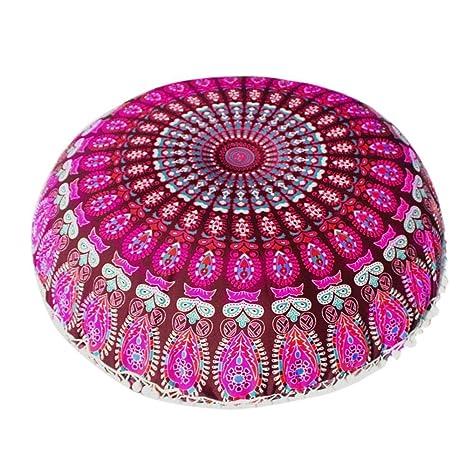 VJGOAL Mandala India Redonda Bohemio Funda de Almohada decoración del hogar Funda de cojín Suave(40_x_40_cm,Multicolor1)