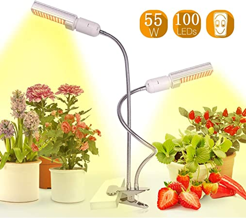 STTA Planta de luz, 50W Full Spectrum 100 LED de Cultivo con Cuello de Cisne Flexible, para Las Plantas de Interior jardín hidropónico de Invernadero: Amazon.es: Hogar