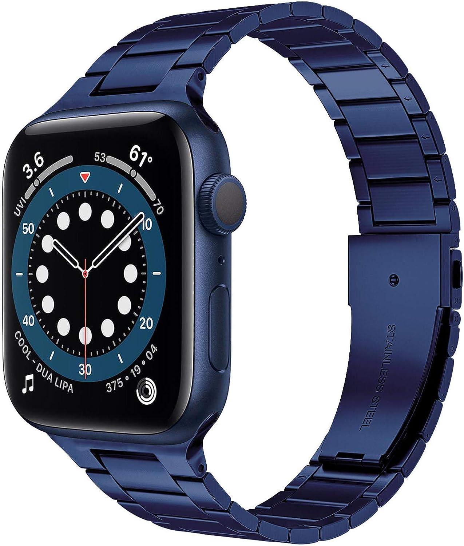 Miimall Compatible Apple Watch 42mm 44mm Series 6 Band Strap Stainless Steel Women Men Bracelet Ajustable Band for Apple Watch SE Series 6 Series 5 Series 4 Series 3 Series 2 Series 1 42mm 44mm(Blue)