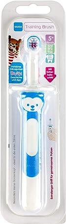 MAM - Cepillo de dientes para bebé con mango largo para agarrar juntos, cepillo de dientes infantil para una limpieza suave de los dientes, a partir de 5 meses, color azul