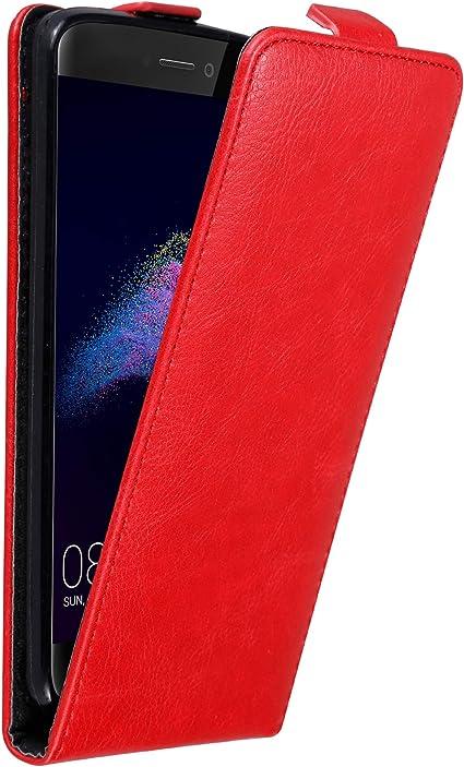 Cadorabo Coque pour Huawei P8 Lite 2017 en Rouge DE Pomme - Housse Protection en Style Flip avec Fermoire Magnétique - Etui Poche Folio Case Cover