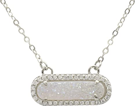 Crystal Quartz Sugar Druzy Silver Plated Necklace Agate Drusy Quartz Pendant