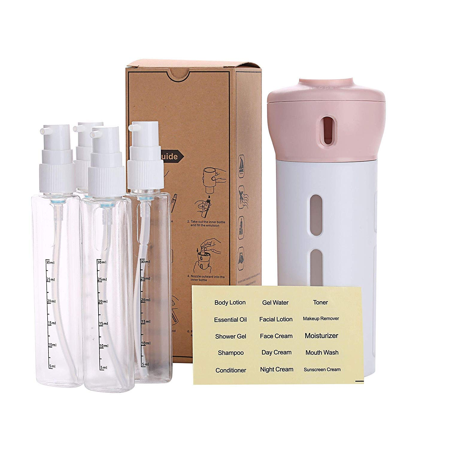 Travel Bottles Set, AIRERA 4-in-1 Organized Leak Proof Travel Size Toiletries, Refillable Travel Liquid/Lotion Container Kit - TSA Approved (Pink)