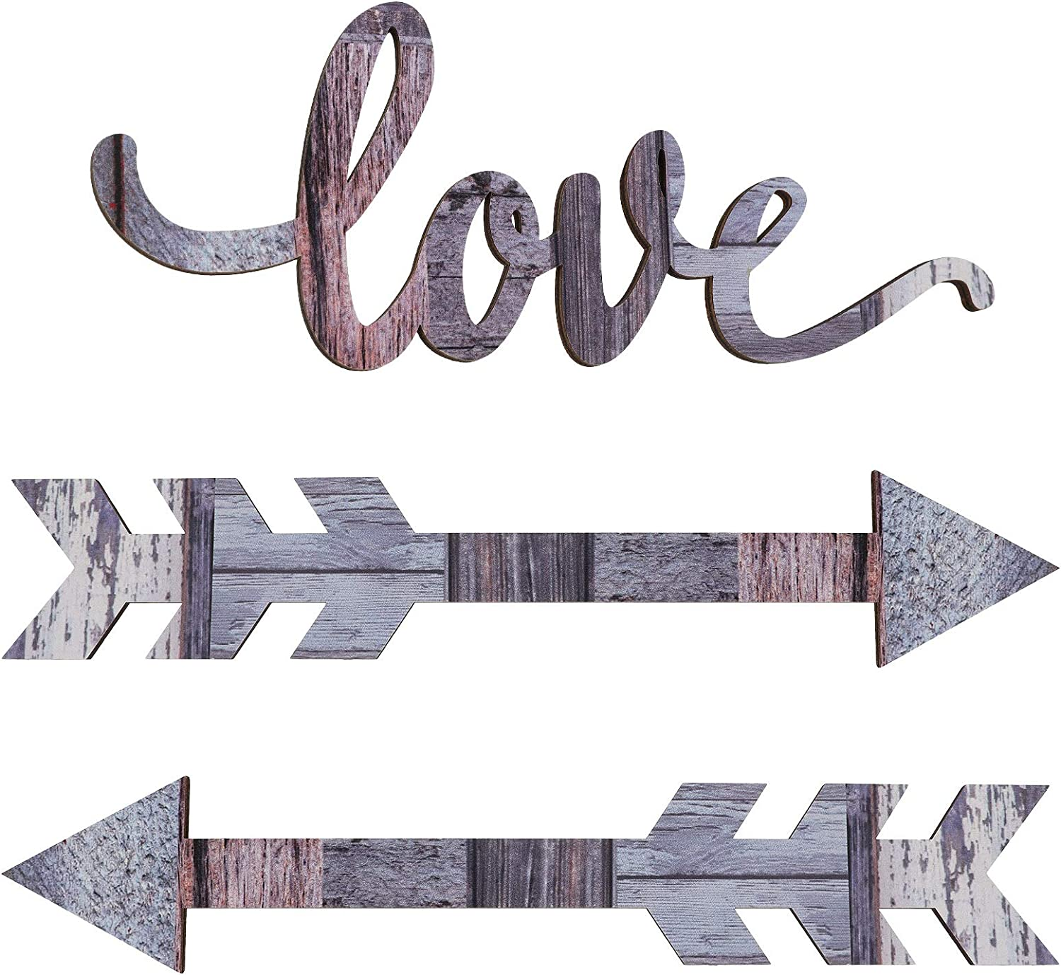 Jetec Wood Arrows Wall Decor Love Wooden Sign Rustic Wood Arrow Sign Decoration for Home Farmhouse Living Room Kitchen Dining Bedroom Bathroom (Chic Color)