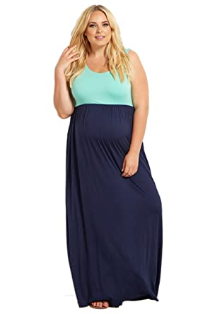 e710d0e42ad Image Unavailable. Image not available for. Color  PinkBlush Maternity Mint  Green Colorblock Plus Size Maxi Dress ...