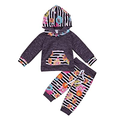 2Pcs Infant Baby Girls Long Sleeve Hoodie Tops with Kangaroo Pockets+Floral Pants Outfit