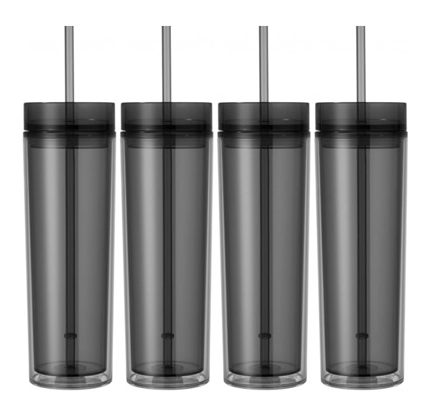Graphite Set of 4 16oz Tumbler Cup Double Wall Skinny Acrylic Tumbler