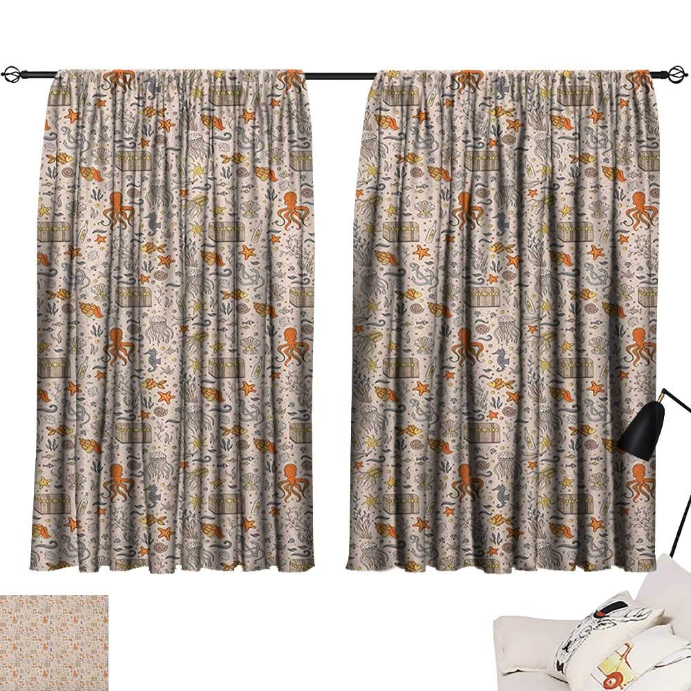 Pattern10 W63\ Beihai1Sun Octopus Night Darkening Curtains Ocean Adventure Themed Pattern with Various Elements in Cartoon Style for Kids Curtain for Living Room Multicolor W63 x L45