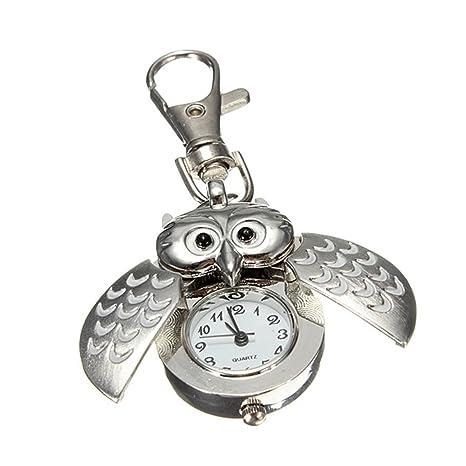 Amazon.com: Metal plateado Flip abierto búho llavero reloj ...
